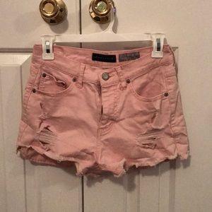 Blush jean shorts